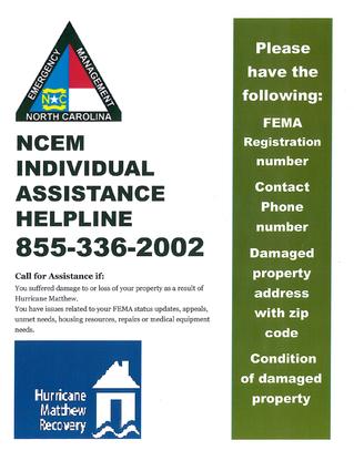 NCEM Individual Assistance Helpline