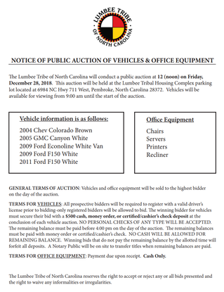 NOTICE OF PUBLIC AUCTION OF VEHICLES & OFFICE EQUIPMENT
