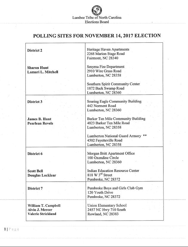 2017 Lumbee Tribal Elections