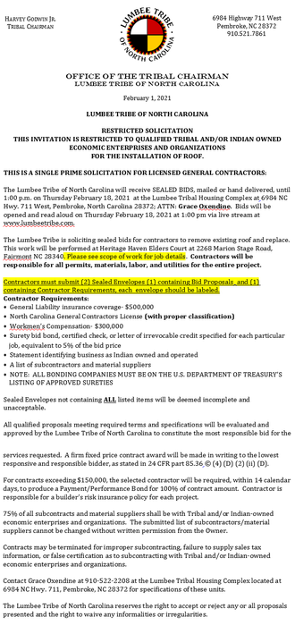 SINGLE PRIME SOLICITATION FOR LICENSE GENERAL CONTRACTORS