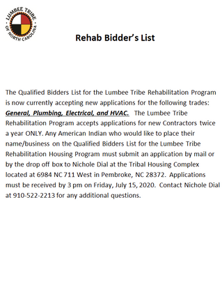 Rehab Bidder's List