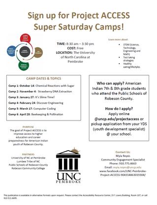 Project ACCESS Super Saturday Camps