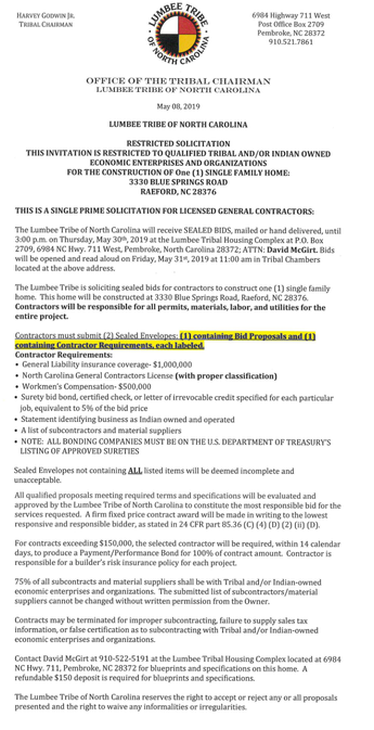 RESTRICTED SOLICITATION THIS INVITATION IS RESTRICTED TO QUALIFIED TRIBAL AND/OR INDIAN OWNED ECONOM