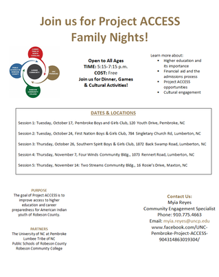 Join us for Project ACCESS Family Night