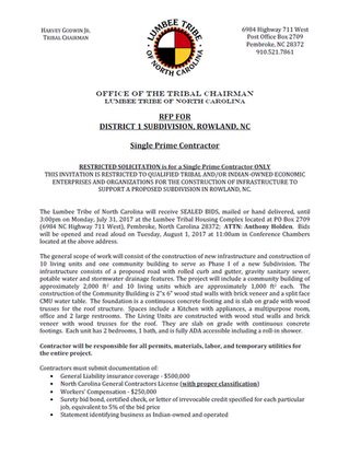 RFP for District 1 Subdivision, Rowland, NC