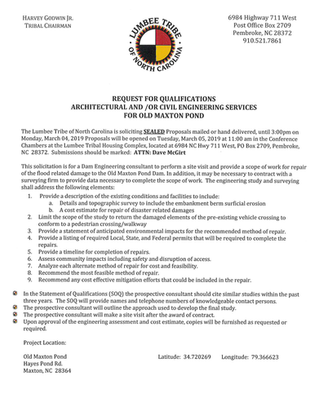 Request for Qualifications Architectural and/or Civil Engineering Services for Old Maxton Pond