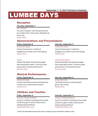 Tentative Program Schedule for Lumbee Days:  National Museum of the American Indian, Washington, D.C