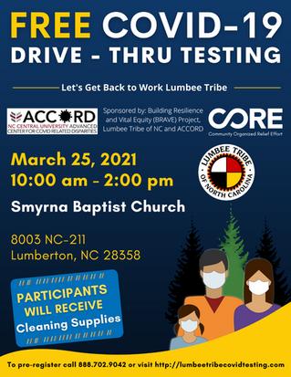 FREE Covid-19 Drive - Thru Testing Schedule