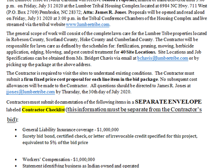 2nd Solicitation for Lawn care RFP