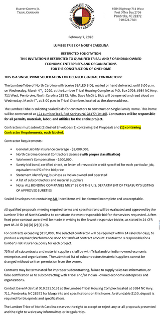 Invitation to Bid for Qualified Tribal And/Or Indian Owned Economic Enterprises and Organizations fo