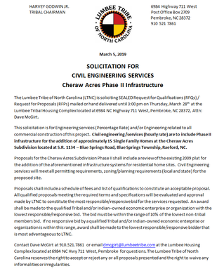 SOLICITATION FOR CIVIL ENGINEERING SERVICES Cheraw Acres Phase II Infrastructure