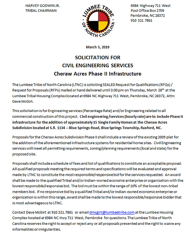 SOLICITATION FOR CIVIL ENGINEERING SERVICES Cheraw Acres