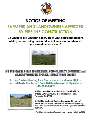NOTICE OF MEETING FARMERS AND LANDOWNERS AFFECTED BY PIPELINE CONSTRUCTION