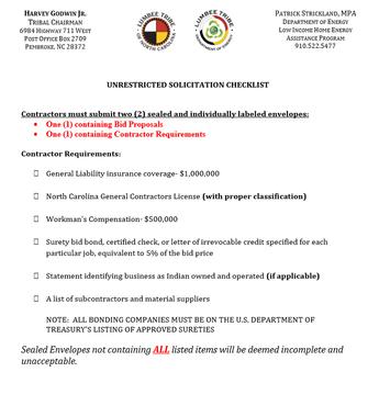 Unrestricted Solicitation Checklist
