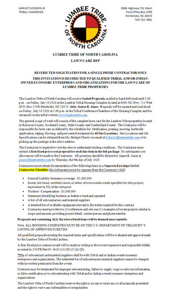 RESTRICTED SOLICITATION FOR A SINGLE PRIME CONTRACTOR ONLY  THIS INVITATION IS RESTRICTED TO QUALIFI