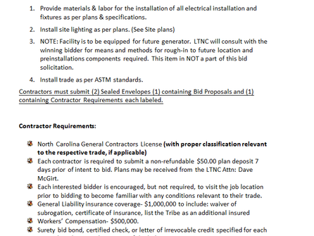 Invitation to Bid LTNC Maint BLDG ELectrical ITB