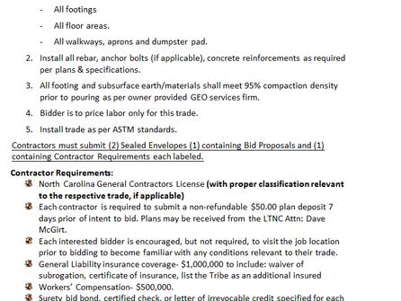 Invitation to Bid LTNC Maint BLDG Concrete ITB