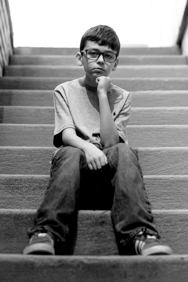 Black & white photo on stairs