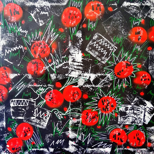 hand-painted fabric for box covering (size: 68cm x68cm)