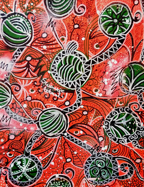 hand-painted fabric for box covering (size53 cm x 41,5 cm)