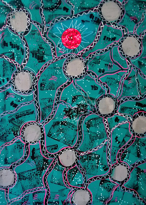hand-painted fabric for box covering (size: 82 cm x 59 cm))