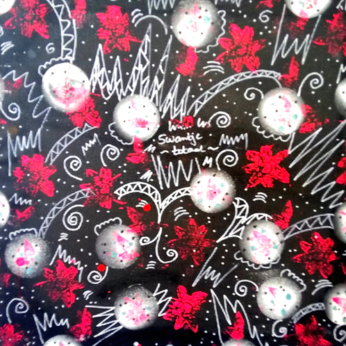 hand-painted fabric for box covering (size 60cm x 60cm)