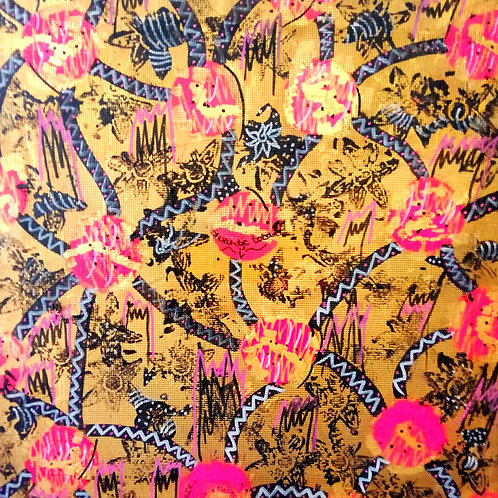 hand-painted fabric for box covering (size: 57 cm x 57 cm)