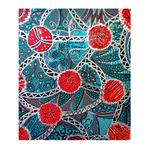 hand-painted fabric for box covering (size 41 cm x 46 cm)