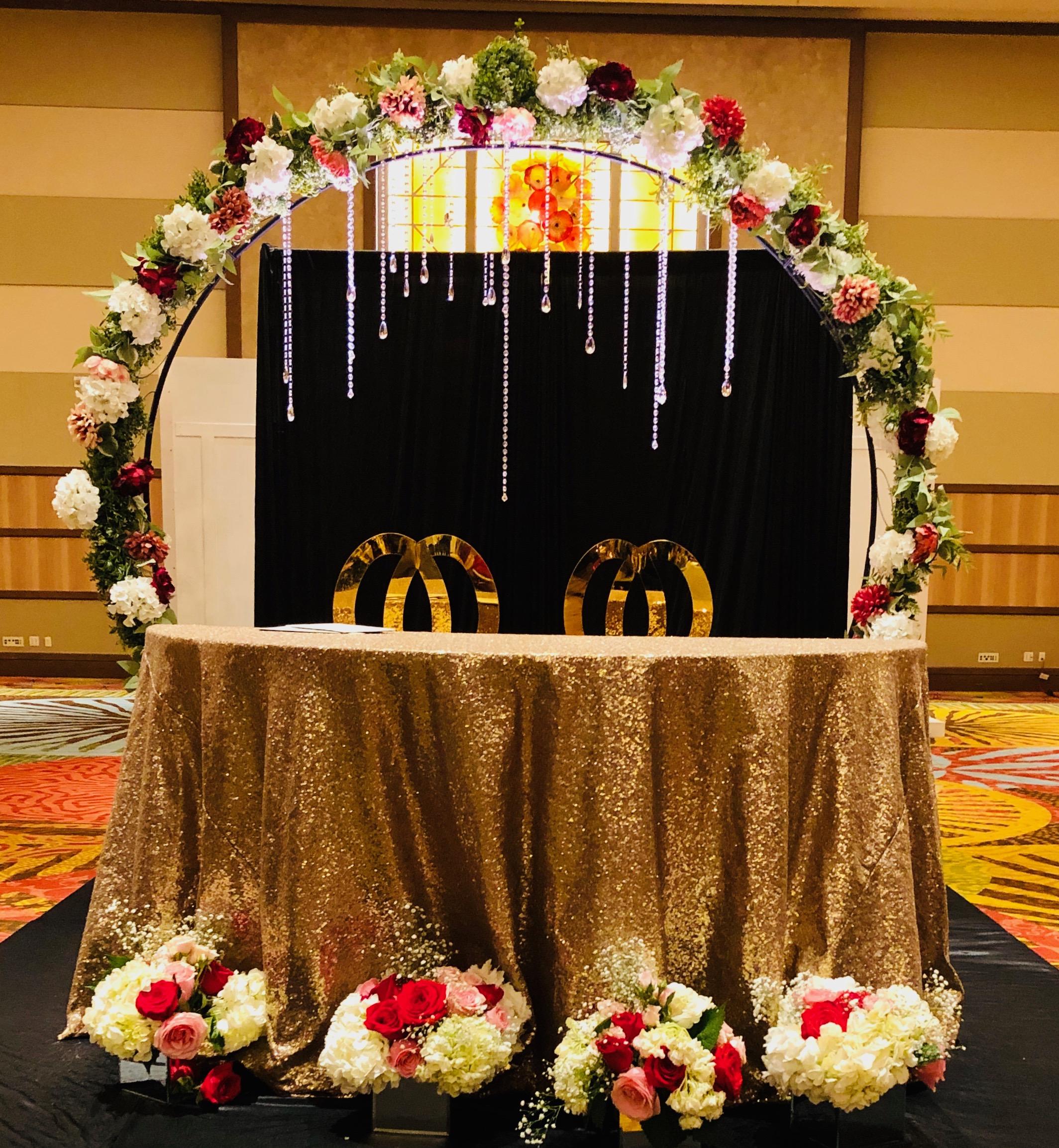 Circular floral archway