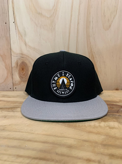 Snapback Black and Grey Hat with Orange Patch