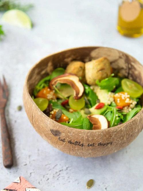 """Bowl Noix de coco gravé """"Eat healthy, eat happy"""""""