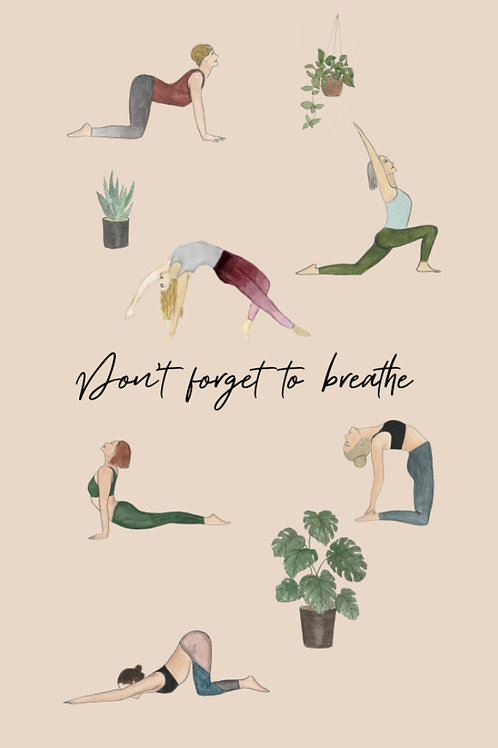 "Carte postale Yoga ""Don't forget to breathe"""