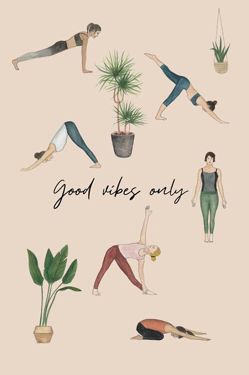 "Carte postale Yoga ""Good vibes only"""