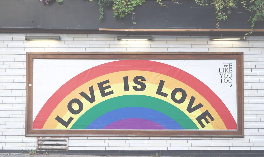 Rainbow with text that says 'Love is Love'. Photo by Yoav Hornung on Unsplash
