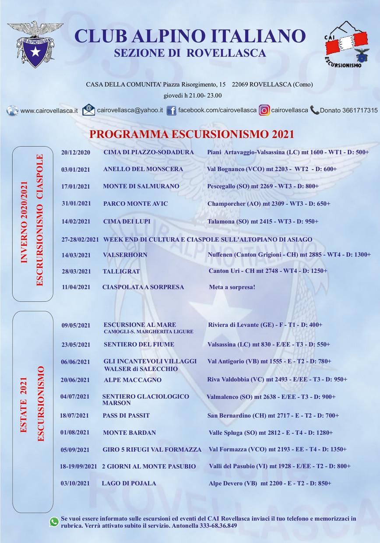Calendario delle escursioni 2021