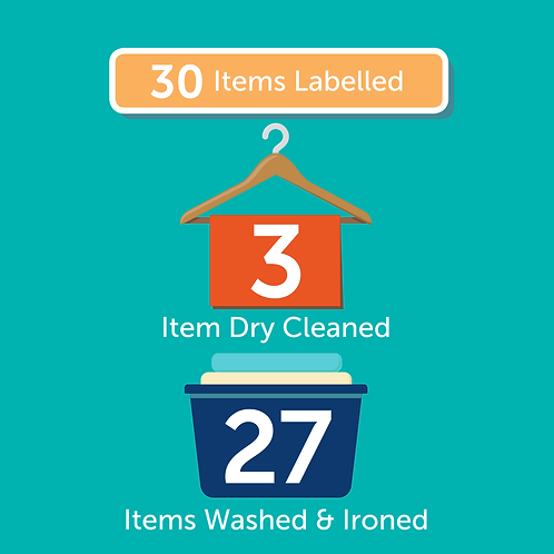 30 Items Labelled + 3 Items Dry Cleaned + 27 Items Laundered