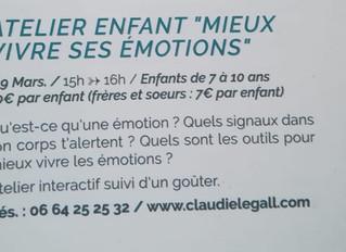 """Atelier Enfant """"mieux vivre ses émotions"""""""