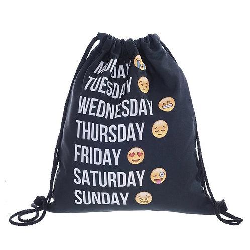 Drawstring Bag Emoticon Black