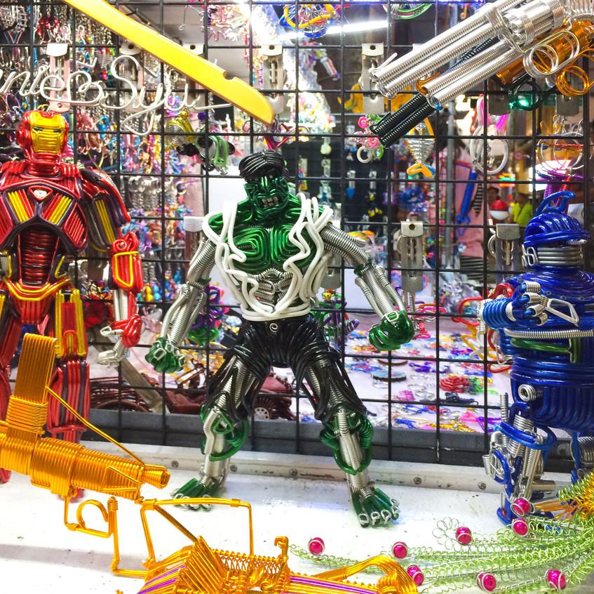Iron Man, Hulk and a blue robot (?)