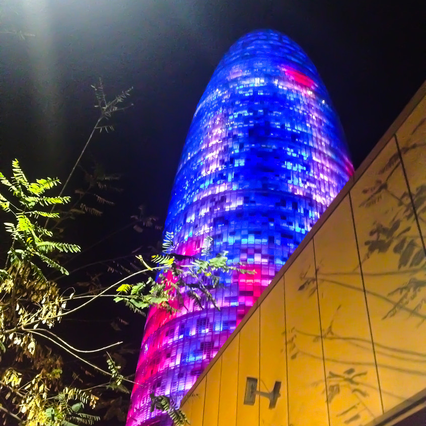 Torre Agbar at night time