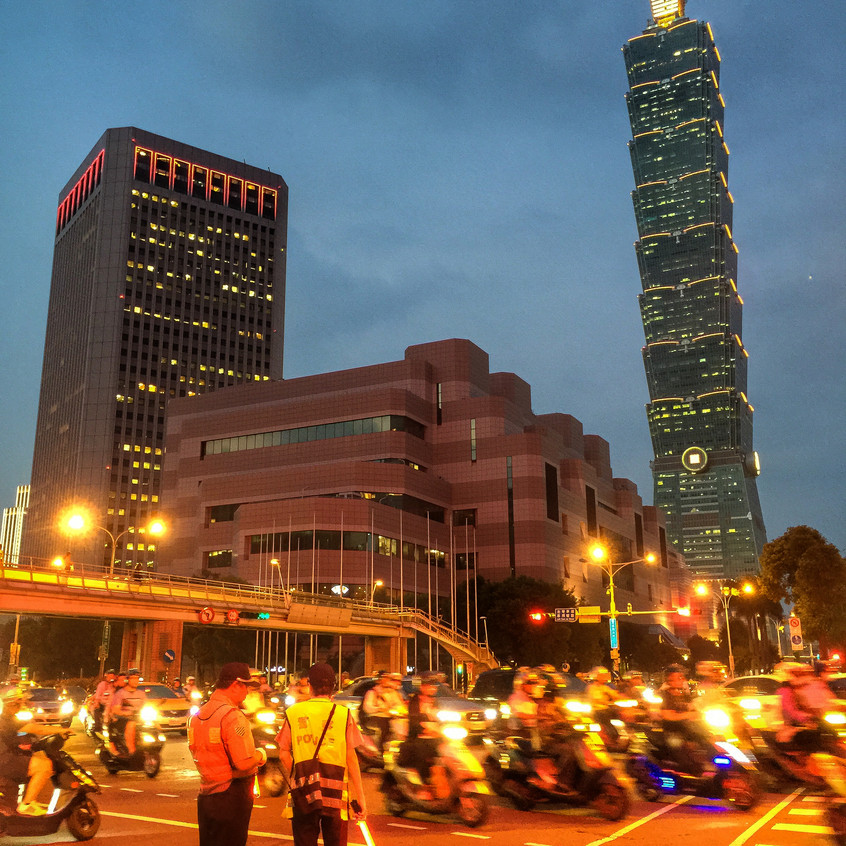 Taipei rush hour with a view of 101