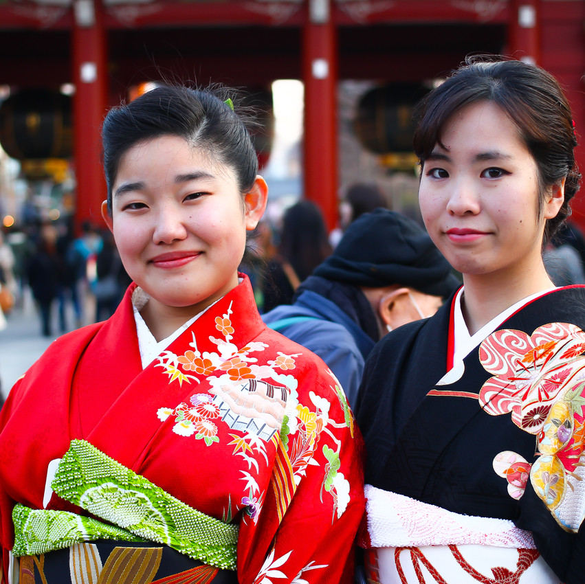 Girls wearing the traditional Kimono
