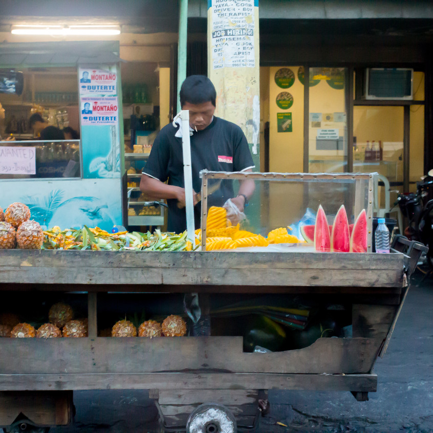 If you want a healthier option there is a fruit cart where you can buy pineapples and watermelon.