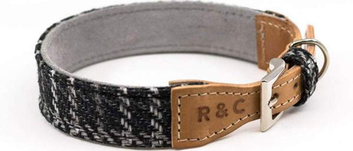 TWEED & LEATHER DOG COLLAR - ASCOT Large