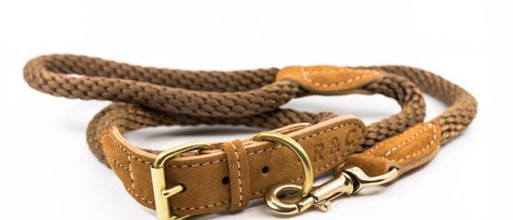Braided Rope Dog Collar - Olive Large