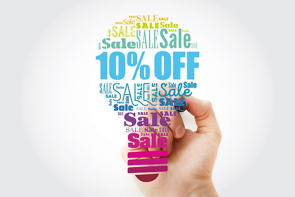 10% OFF Sale light bulb word cloud colla