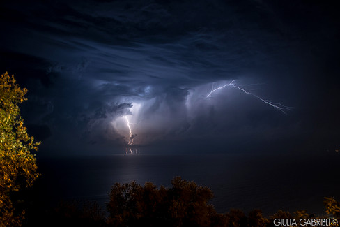 LIGHTNING STORM OVER THE SEA