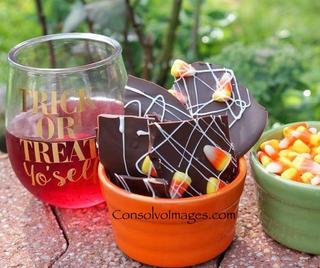 Halloween Chocolate Bark with Candy Corn