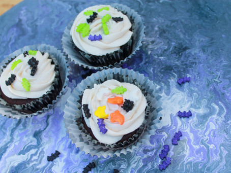 Cupcakes with Halloween Sprinkles and a Lazy Susan