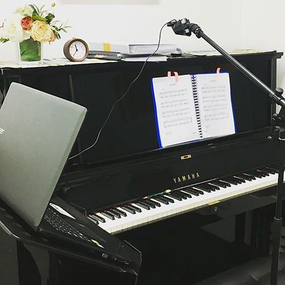 Studio setup for online lesson Master Piano Institute